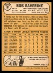 1968 Topps #149  Bob Saverine  Back Thumbnail