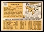 1963 Topps #106  Bobby Bolin  Back Thumbnail
