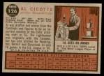 1962 Topps #126 NRM Al Cicotte  Back Thumbnail