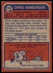 1973 Topps #250  Chris Hanburger  Back Thumbnail