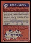1973 Topps #287  Dale Lindsey  Back Thumbnail