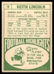1968 Topps #19  Keith Lincoln  Back Thumbnail