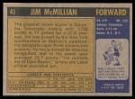 1971 Topps #41  Jim McMillian   Back Thumbnail