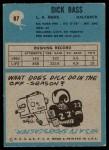 1964 Philadelphia #87  Dick Bass     Back Thumbnail