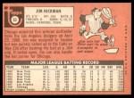 1969 Topps #63  Jim Hickman  Back Thumbnail