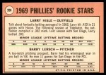 1969 Topps #206   -  Larry Hisle / Barry Lersch Phillies Rookies Back Thumbnail