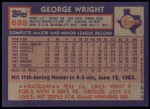 1984 Topps #688  George Wright  Back Thumbnail
