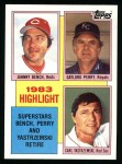 1984 Topps #6   -  Johnny Bench / Gaylord Perry / Carl Yastrzemski 1983 Highlight - 3 Superstars Retire Front Thumbnail
