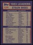 1984 Topps #134  Rickey Henderson / Tim Raines  Back Thumbnail