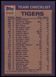 1984 Topps #666   -  Jack Morris / Lou Whitaker Tigers Leaders & Checklist Back Thumbnail