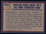 1984 Topps #1   -  Steve Carlton 1983 Highlight - 300th Win Back Thumbnail