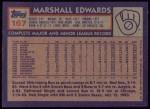 1984 Topps #167  Marshall Edwards  Back Thumbnail