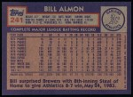 1984 Topps #241  Bill Almon  Back Thumbnail