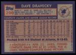 1984 Topps #290  Dave Dravecky  Back Thumbnail