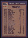 1984 Topps #456   -  Fergie Jenkins / Keith Moreland Cubs Leaders & Checklist Back Thumbnail