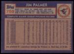 1984 Topps #750  Jim Palmer  Back Thumbnail