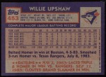 1984 Topps #453  Willie Upshaw  Back Thumbnail