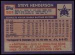 1984 Topps #501  Steve Henderson  Back Thumbnail