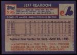 1984 Topps #595  Jeff Reardon  Back Thumbnail