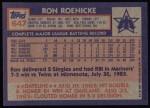 1984 Topps #647  Ron Roenicke  Back Thumbnail