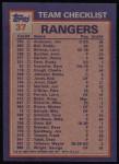 1984 Topps #37   -  Rick Honeycutt / Buddy Bell Rangers Leaders & Checklist Back Thumbnail
