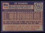 1984 Topps #146  Ed Romero  Back Thumbnail