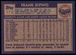1984 Topps #172  Frank DiPino  Back Thumbnail