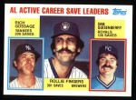 1984 Topps #718   -  Goose Gossage / Dan Quisenberry / Rollie Fingers AL Active Save Leaders Front Thumbnail
