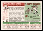 2004 Topps Heritage #193  Miguel Cairo  Back Thumbnail