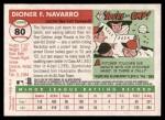 2004 Topps Heritage #80  Dioner Navarro  Back Thumbnail