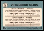 2014 Topps Heritage #282   -  Kevin Siegrist / Heath Hembree Rookies Back Thumbnail