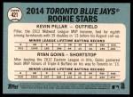 2014 Topps Heritage #421   -  Kevin Pillar / Ryan Goins Blue Jays Rookies Back Thumbnail