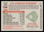 2005 Topps Heritage #166   Los Angeles Dodgers Team Back Thumbnail