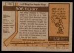 1973 Topps #172  Bob Berry  Back Thumbnail