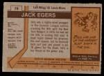 1973 Topps #79  Jack Egers   Back Thumbnail