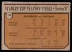 1973 Topps #197   Canadiens 4 Blackhawks 2  Back Thumbnail