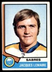 1974 Topps #24  Jacques Lemaire  Front Thumbnail
