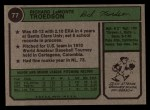 1974 Topps #77 SD Rich Troedson  Back Thumbnail