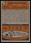 1974 Topps #87  Barclay Plager  Back Thumbnail