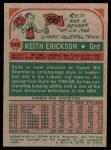 1973 Topps #117  Keith Erickson  Back Thumbnail