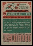 1973 Topps #229  Warren Davis  Back Thumbnail