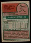 1975 Topps #541  Roger Metzger  Back Thumbnail