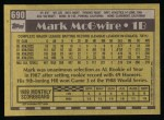 1990 Topps #690  Mark McGwire  Back Thumbnail