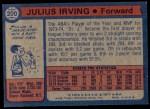 1974 Topps #200  Julius Erving  Back Thumbnail
