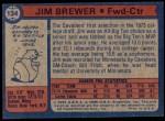 1974 Topps #134  Jim Brewer  Back Thumbnail