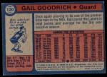 1974 Topps #120  Gail Goodrich  Back Thumbnail