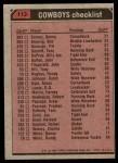 1980 Topps #113   Cowboys Leaders Checklist Back Thumbnail