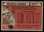 1980 Topps #400  Franco Harris  Back Thumbnail