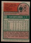 1975 Topps Mini #446  Bart Johnson  Back Thumbnail