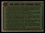 1974 Topps #3   -  Hank Aaron Special 1958-61 Back Thumbnail